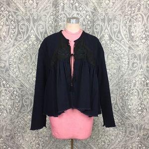 NWOT Giada Forte Boho Linen/Wool Swing Jacket